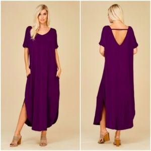 jackie // peek a boo back jersey maxi dress purple